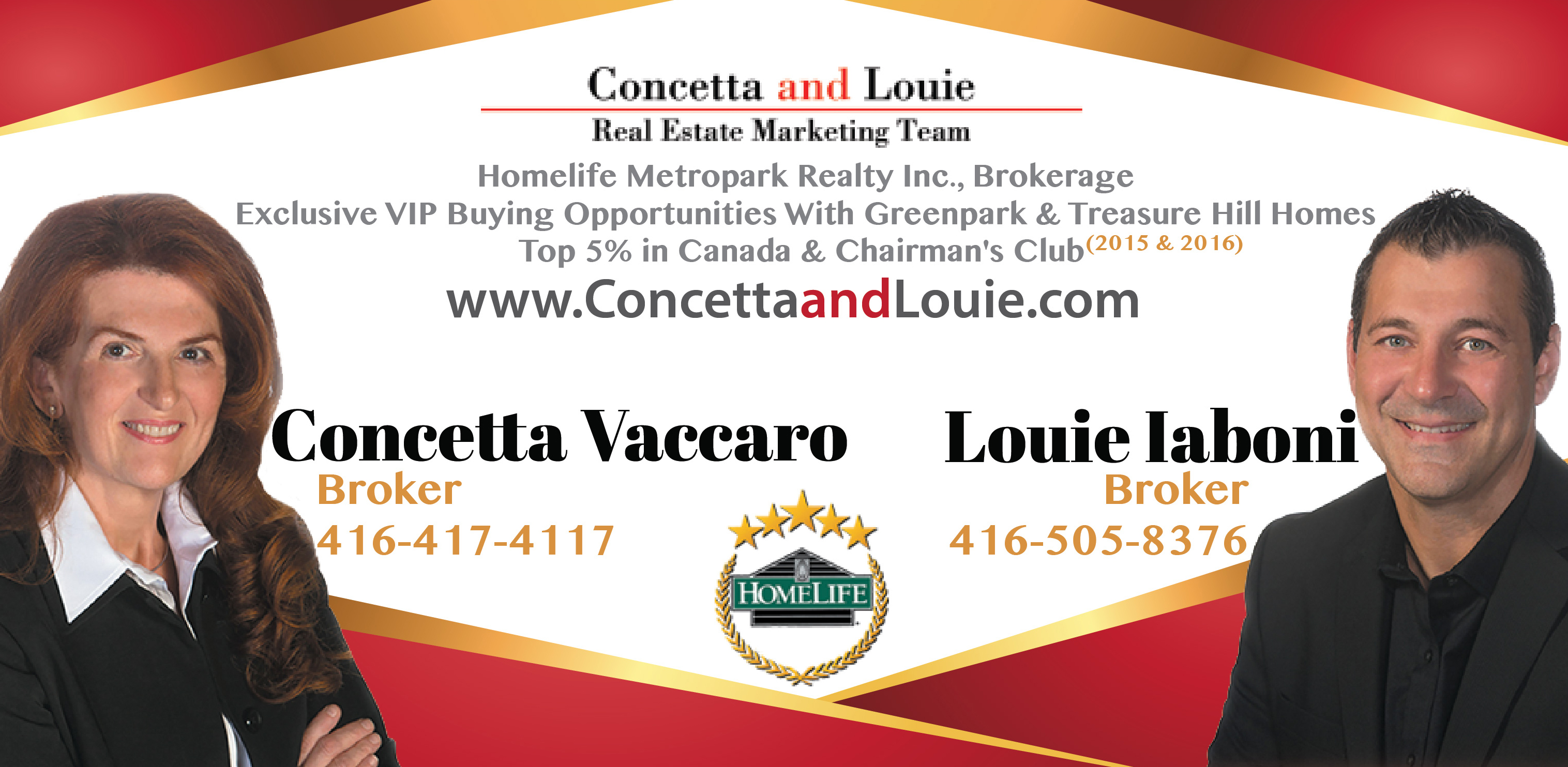 Concetta and Louie are Brokers at Homelife Metropark Realty Inc/Real estate/Louie Iaboni/Broker/Vip offer/Homelife/builder