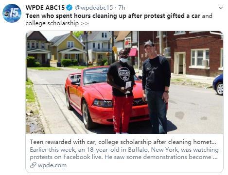 感动美国!暴乱后这位高中生却获赠了一辆跑车!6