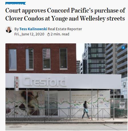 宣判了!破产楼盘由著名开发商CONCORD PACIFIC正式接管6