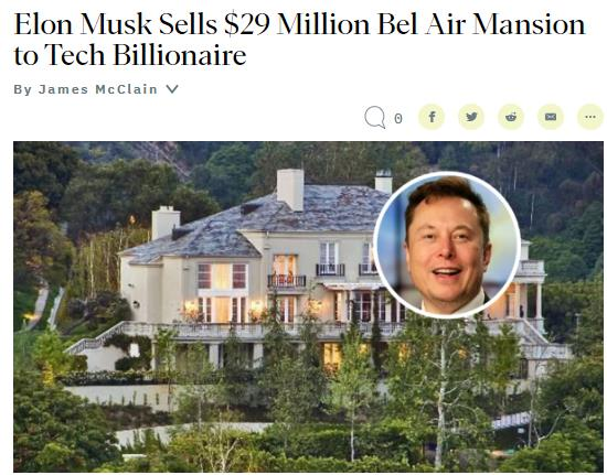 马斯克赚了!2900万美元出售豪宅大赚! 买家是他!1