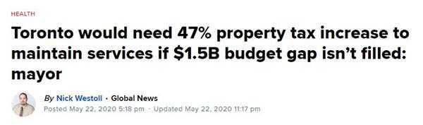 政府钱撒爽了!多伦多市没联邦支持,地税将暴涨60%!8