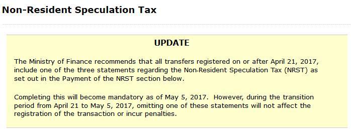 NRST 安省 非加拿大居民 住宅物业税 转让合约