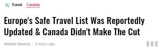 加拿大被剔除欧盟安全旅行清单!对于二次疫情加拿大人不如美国人乐观2