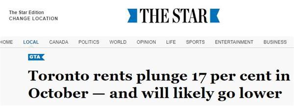 租房市场惨淡!多伦多地区租金暴跌17%2