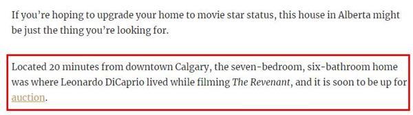全球影迷热捧!莱昂纳多拍《荒野猎人》住过的豪宅将被拍卖4